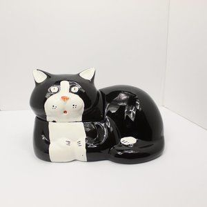 Vintage Black and White Ceramic Cat Cookie Jar